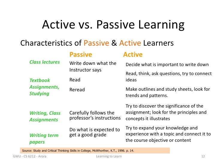 active versus passive learning Learning can also be passive or active, with classical conditioning being an example of passive learning, whilst cognitive learning show more introducing active learning in the classroom.