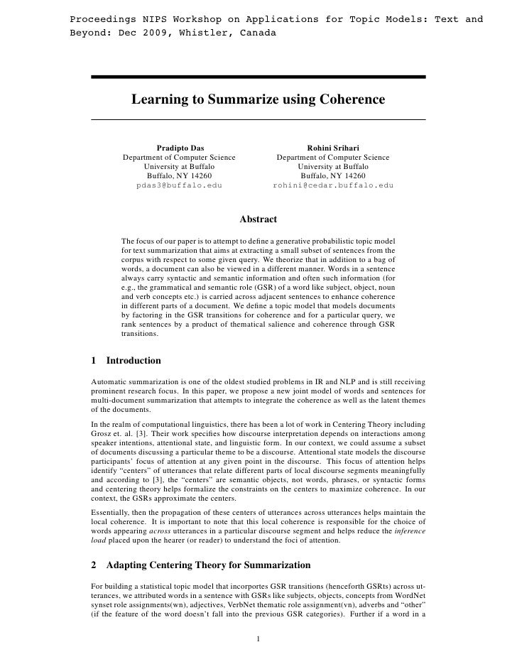 Learning to summarize using coherence