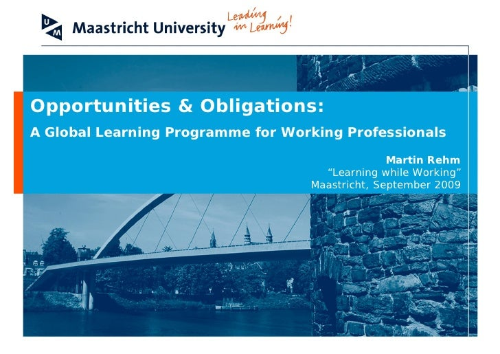 Opportunities & Obligations: A Global Learning Programme for Working Professionals                                        ...