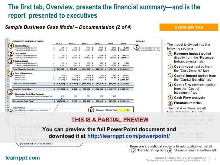 Business Case Development Toolkit With Excel Model