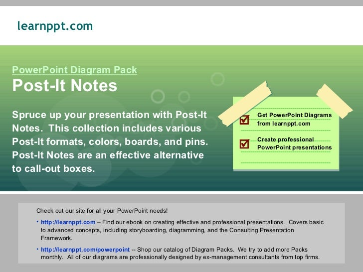 PowerPoint Diagram Pack Post-It Notes Spruce up your presentation with Post-It Notes.  This collection includes various Po...