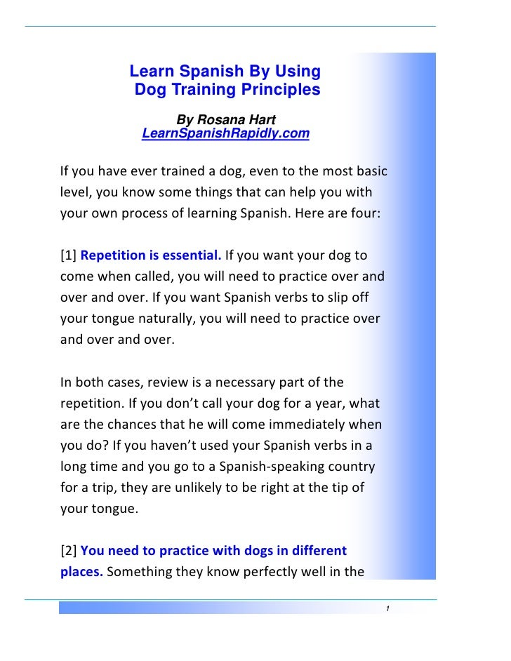 Learn Spanish By Using   Dog Training Principles