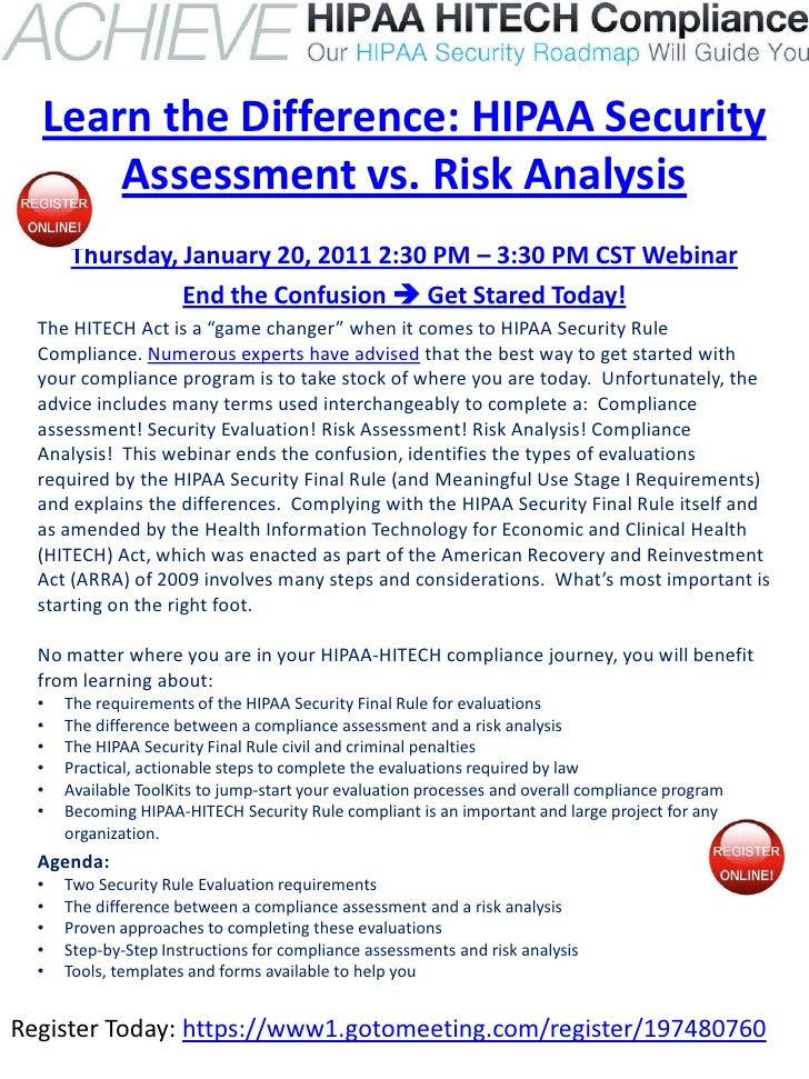 Learn the Difference: HIPAA Security      Assessment vs. Risk Analysis      Thursday, January 20, 2011 2:30 PM – 3:30 PM C...