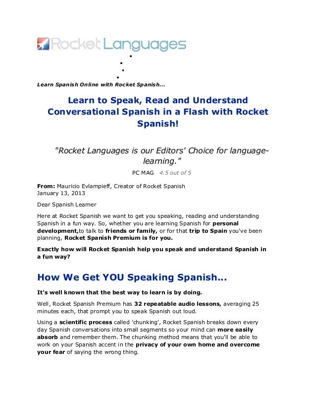 Learn to speak, read and understand conversational spanish in a flash with rocket spanish