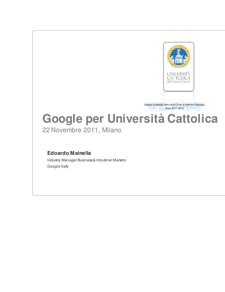 Learn with google master cattolica final