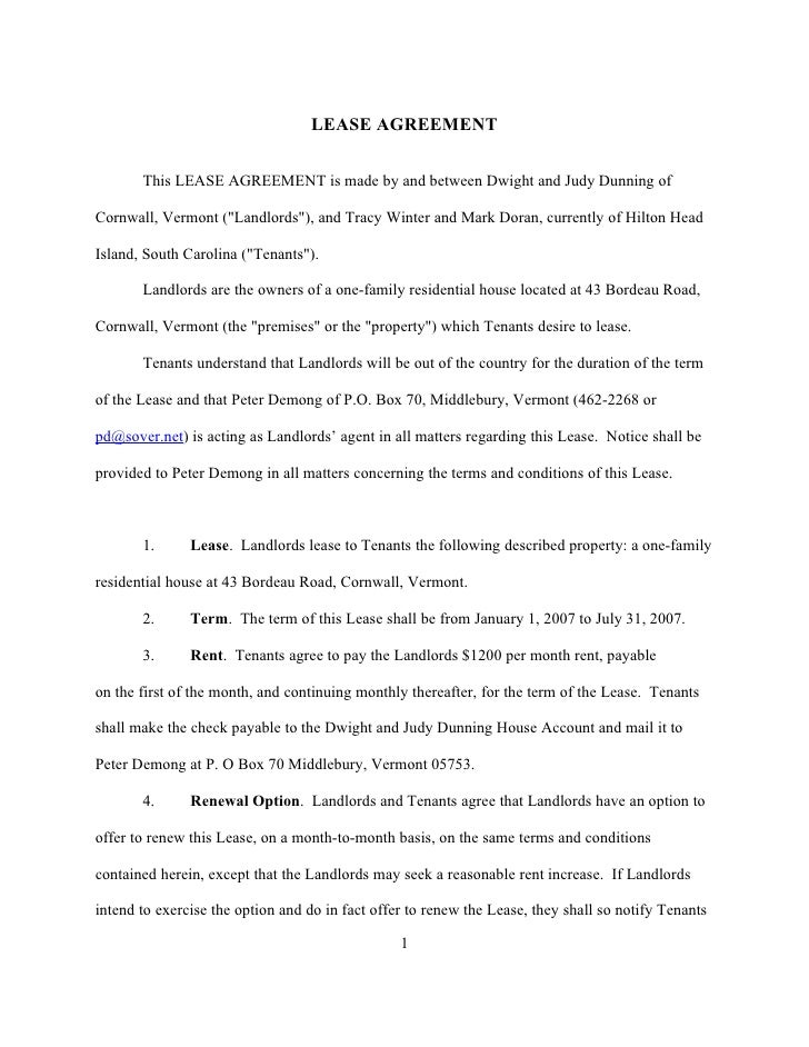 """LEASE AGREEMENT         This LEASE AGREEMENT is made by and between Dwight and Judy Dunning of  Cornwall, Vermont (""""Landlo..."""