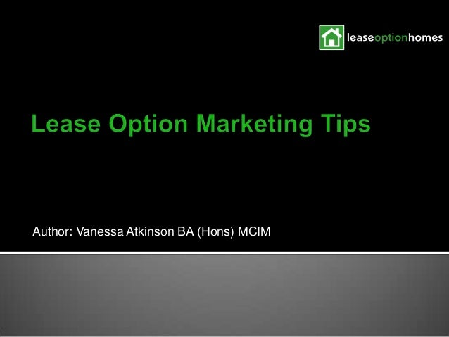 Lease Option Homes Marketing Tips