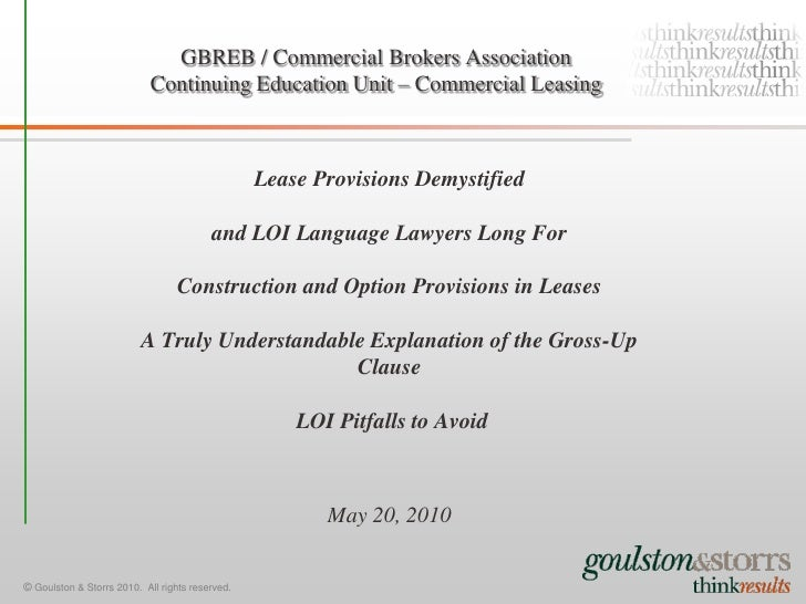 GBREB / Commercial Brokers Association                             Continuing Education Unit – Commercial Leasing         ...