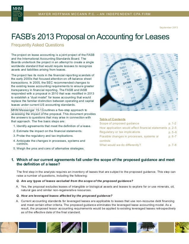 FASB's 2013 Proposal on Accounting for Leases FAQs
