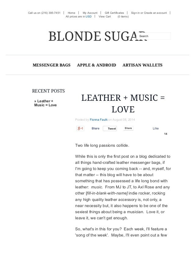 RECENT POSTS » Leather + Music = Love Call us on (216) 395-7451 or LEATHER + MUSIC = LOVE Posted by Fionna Faulk on August...