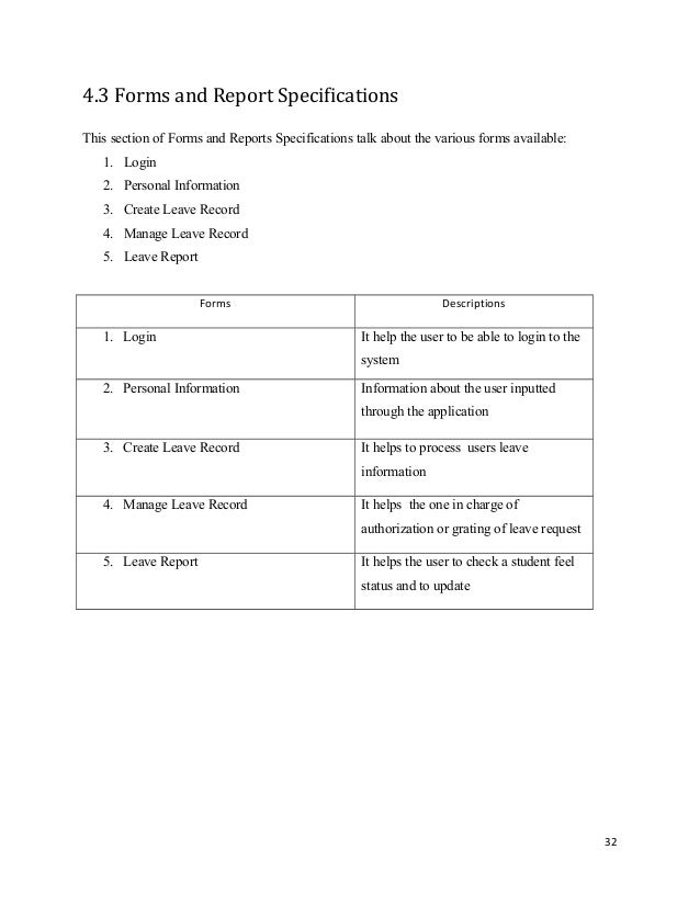forms and report specificationsthis section of forms and