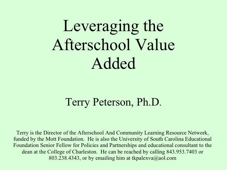 Leaveraging Afterschool