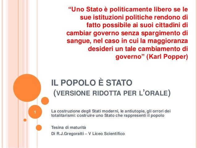 """IL POPOLO È STATO(VERSIONE RIDOTTA PER L""""ORALE)La costruzione degli Stati moderni, le antiutopie, gli orrori deitotalitari..."""
