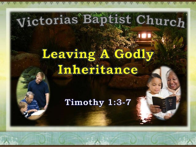 2 Timothy 1:3-7 3  I thank God, whom I serve from my forefathers with pure conscience, that without ceasing I have remembr...