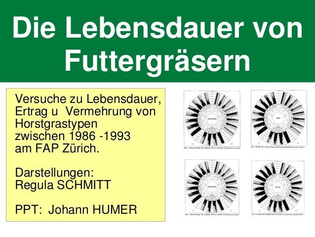 Die Lebensdauer von Futtergräsern Versuche zu Lebensdauer, Ertrag u Vermehrung von Horstgrastypen zwischen 1986 -1993 am F...