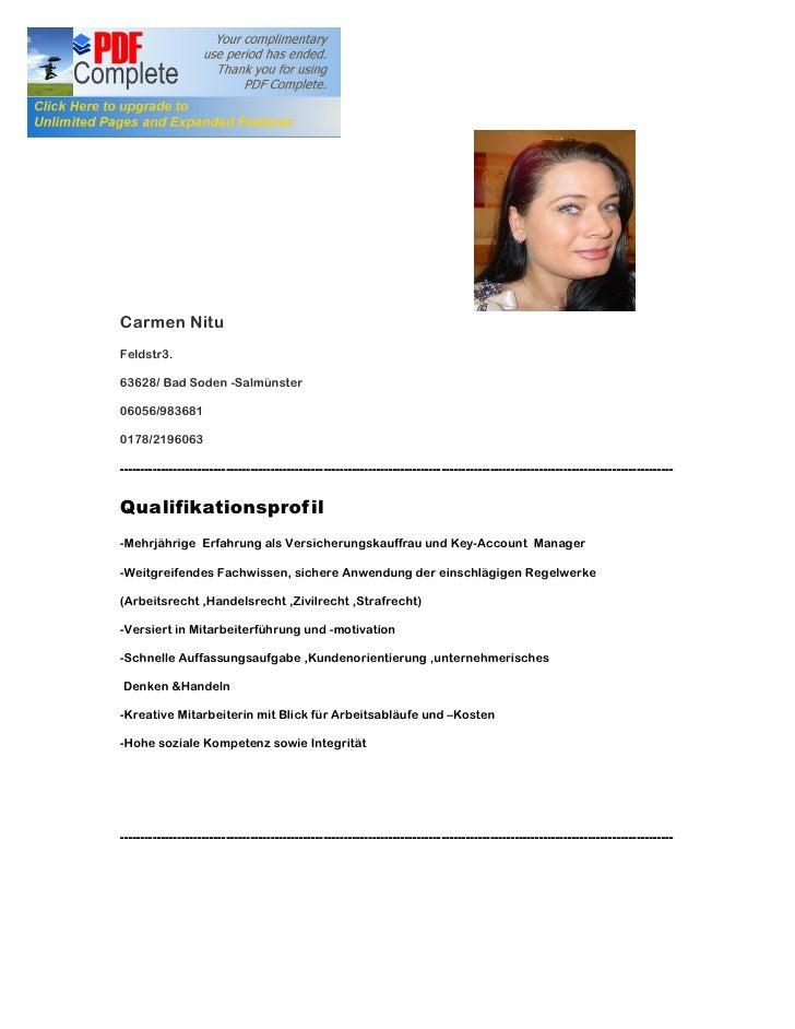 Lebenslauf     Carmen Nitu Feldstr3.  63628/ Bad Soden -Salmünster  06056/983681  0178/2196063  --------------------------...