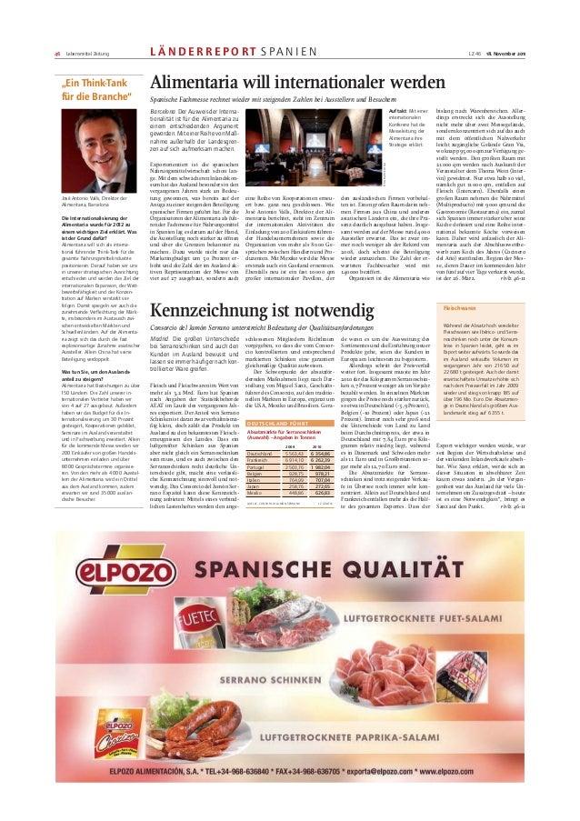 Alimentaria will internationaler werden. Lebensmittel praxis (Alemania), noviembre 2012