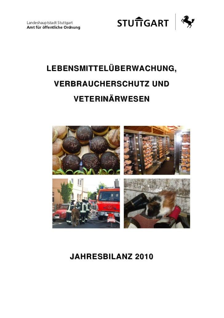 Lebensmittelüberwachung jahresbilanz 2010
