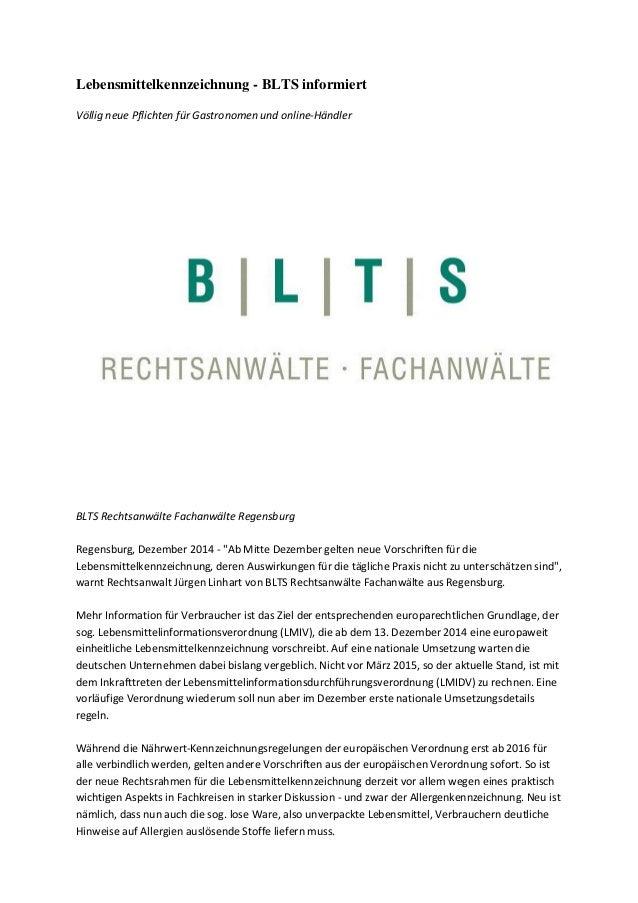Lebensmittelkennzeichnung - BLTS informiert Völlig neue Pflichten für Gastronomen und online-Händler BLTS Rechtsanwälte Fa...