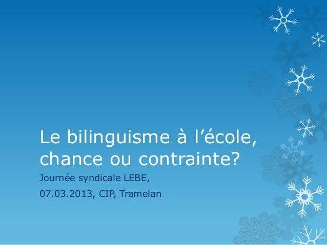 Le bilinguisme à l'école,chance ou contrainte?Journée syndicale LEBE,07.03.2013, CIP, Tramelan