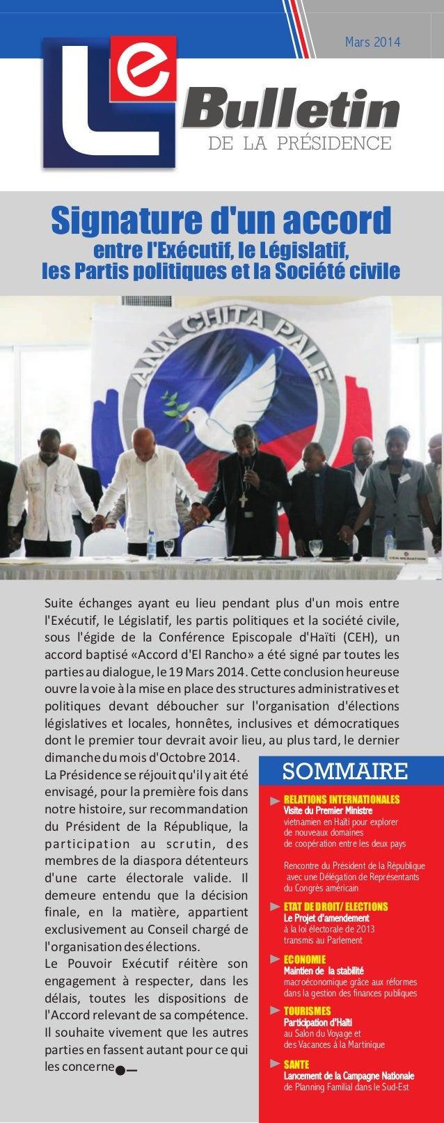 e Mars 2014 Suite échanges ayant eu lieu pendant plus d'un mois entre l'Exécutif, le Législatif, les partis politiques et ...