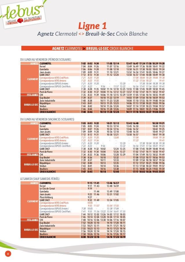 RÉSEAU DE TRANSPORT  DU PAYS CLERMONTOIS  6  Agnetz Clermotel <> Breuil-le-Sec Croix Blanche  AGNETZ CLERMOTEL > BREUIL-LE...