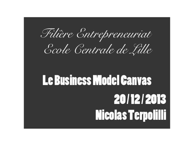 Filière Entrepreneuriat Ecole Centrale de Lille Le Business Model Canvas 20 / 12 / 2013 Nicolas Terpolilli