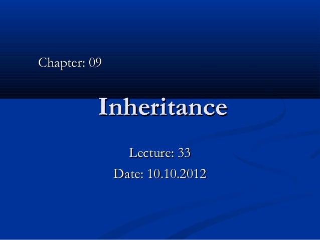 Lec 33 -  inheritance