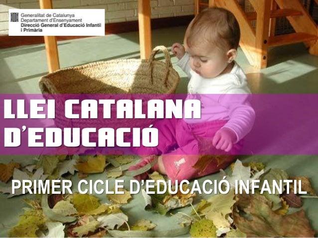 PRIMER CICLE D'EDUCACIÓ INFANTIL LLEI CATALANA D'EDUCACIÓ