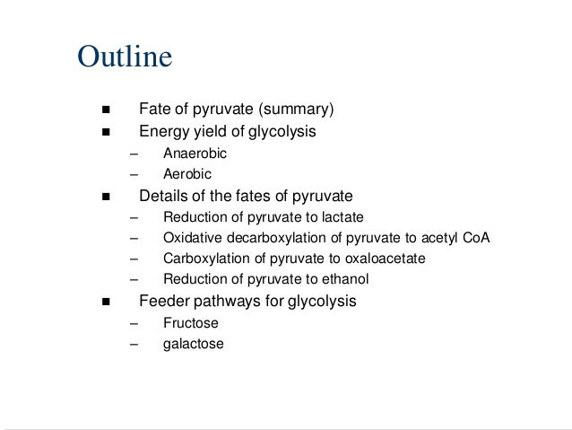 Outline        Fate of pyruvate (summary)        Energy yield of glycolysis     –      Anaerobic     –      Aerobic    ...