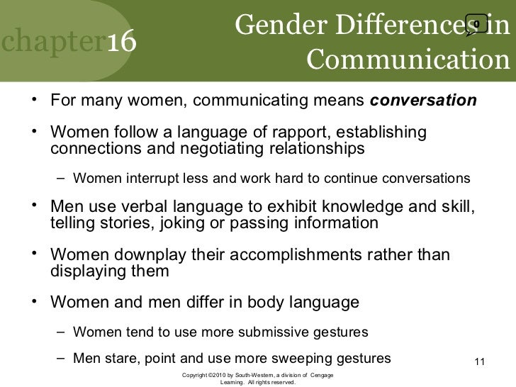 communication between genders essay In today's society sex and gender seem to have two separate connotative meanings sex is a more scientific term that explains physical traits and sexual.