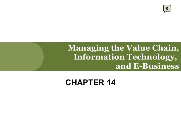 Managing the Value Chain, Information Technology,  and E-Business CHAPTER 14 0