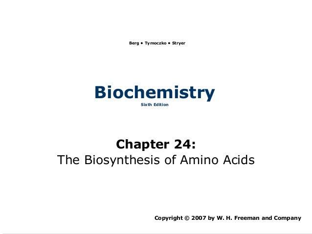 Berg • Tymoczko • Stryer     Biochemistry               Sixth Edition         Chapter 24:The Biosynthesis of Amino Acids  ...