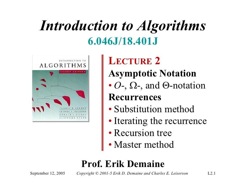 Introduction to Algorithms                            6.046J/18.401J                                      LECTURE 2       ...