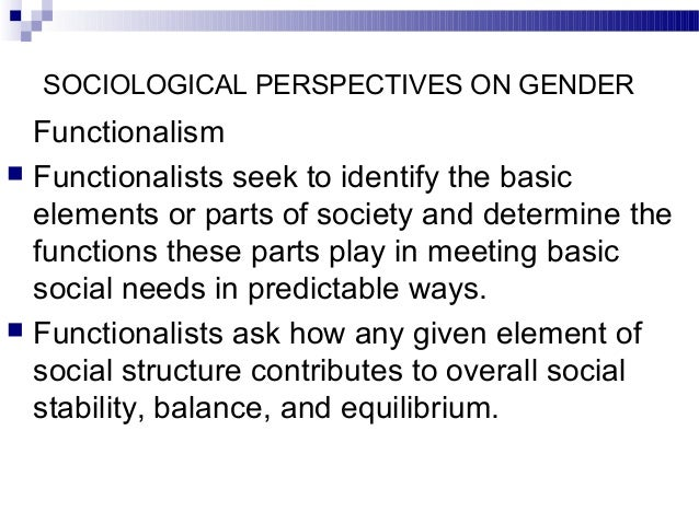 Functionalist perspective on gender inequality