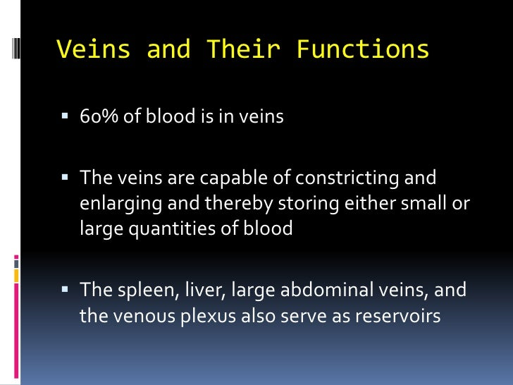 Veins and Their Functions<br />60% of blood is in veins<br />The veins are capable of constricting and enlarging and there...
