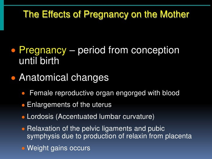The Effects of Pregnancy on the Mother<br /><ul><li>Pregnancy – period from conception until birth