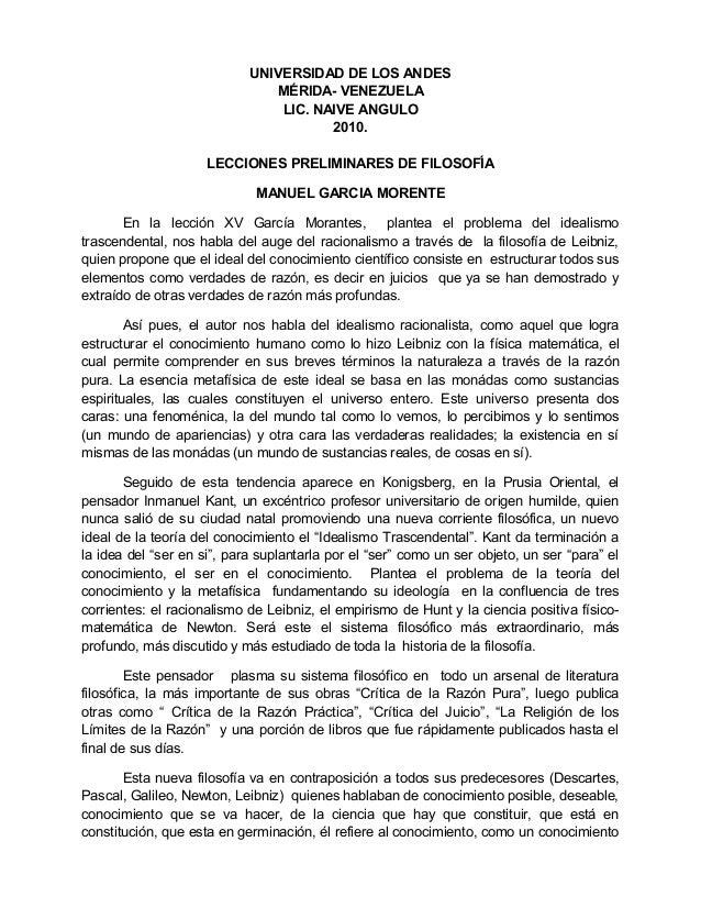 UNIVERSIDAD DE LOS ANDES MÉRIDA- VENEZUELA LIC. NAIVE ANGULO 2010. LECCIONES PRELIMINARES DE FILOSOFÍA MANUEL GARCIA MOREN...