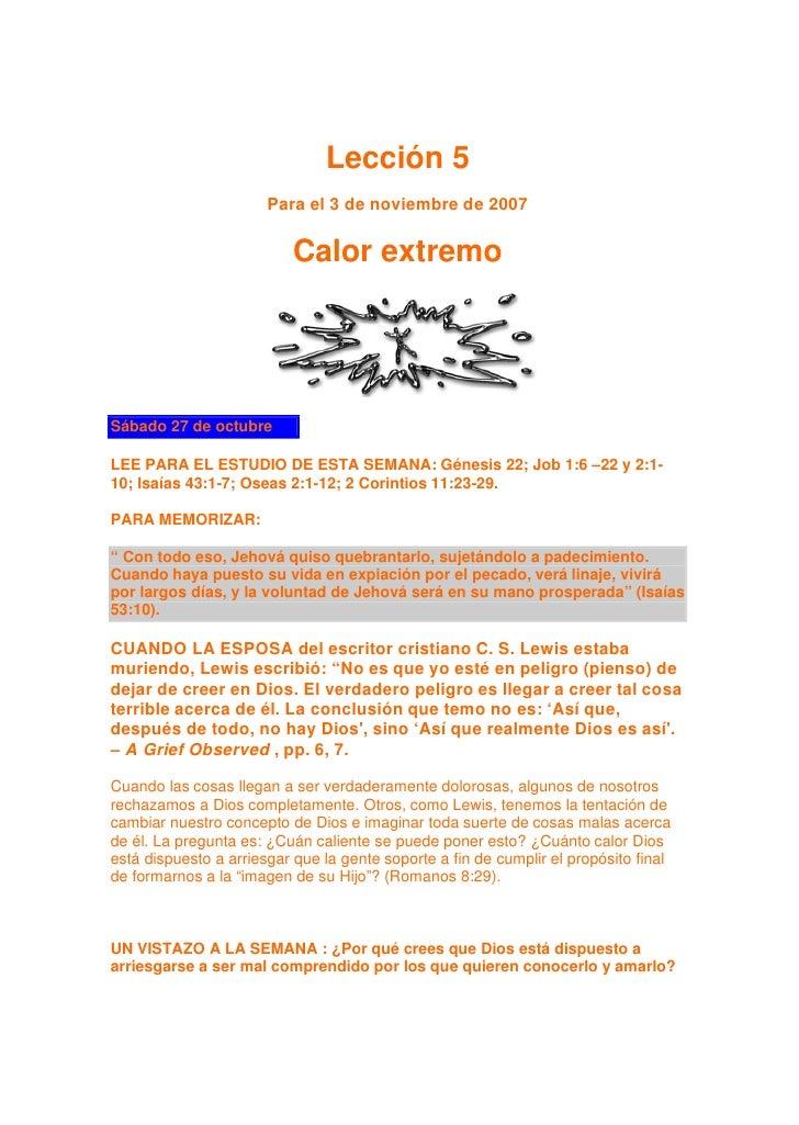 Lección 5                        Para el 3 de noviembre de 2007                             Calor extremo     Sábado 27 de...