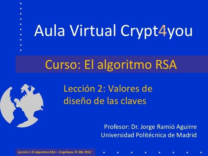 Aula Virtual Crypt4you                  Curso: El algoritmo RSA                              Lección 2: Valores de        ...