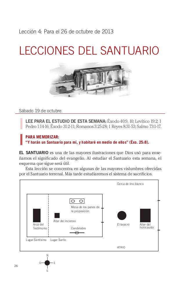 Lección 4: Para el 26 de octubre de 2013  LECCIONES DEL SANTUARIO  Sábado 19 de octubre LEE PARA EL ESTUDIO DE ESTA SEMANA...