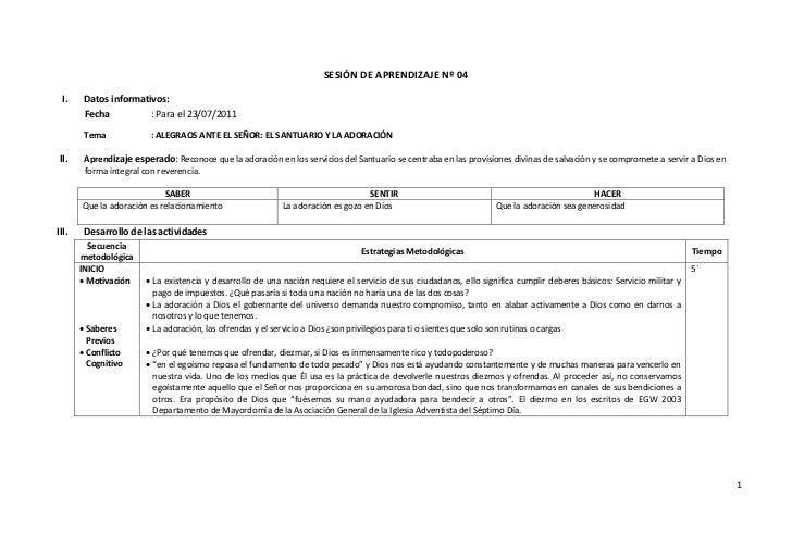 SESIÓN DE APRENDIZAJE Nº 04 I.     Datos informativos:        Fecha          : Para el 23/07/2011        Tema             ...
