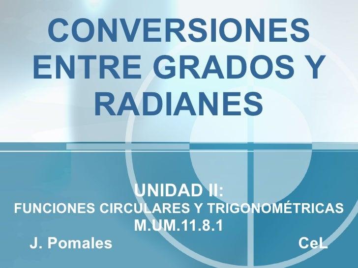 CONVERSIONES ENTRE GRADOS Y RADIANES UNIDAD II: FUNCIONES CIRCULARES Y TRIGONOMÉTRICAS M.UM.11.8.1 J. Pomales  CeL