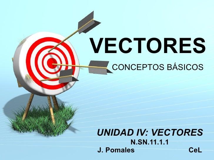 VECTORES UNIDAD IV: VECTORES N.SN.11.1.1 J. Pomales  CeL CONCEPTOS BÁSICOS
