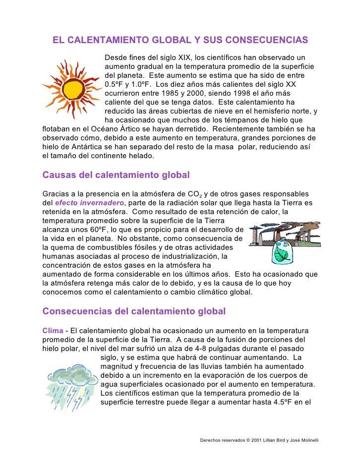 EL CALENTAMIENTO GLOBAL Y SUS CONSECUENCIAS                    Desde fines del siglo XIX, los científicos han observado un...