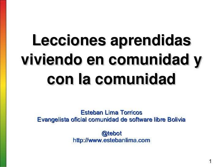 Leccionesaprendidasviviendoencomunidady    conlacomunidad                  Esteban Lima Torricos  Evangelista ofic...