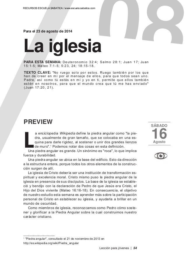 """Para el 23 de agosto de 2014 PREVIEW SÁBADO 16Agosto L a enciclopedia Wikipedia define la piedra angular como """"la pie- dra..."""