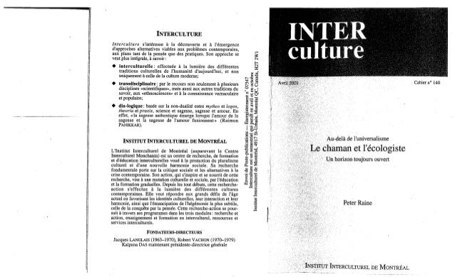 Le chaman et l'écologiste. p. raine. (document à télécharger en format pdf, 3,5 mb).