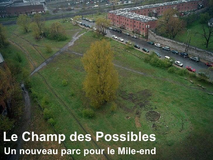 Le Champ des Possibles Un nouveau parc pour le Mile-end