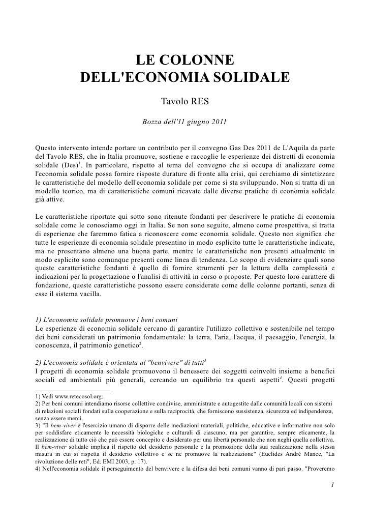 Le colonne dell'economia solidale - Tavolo RES